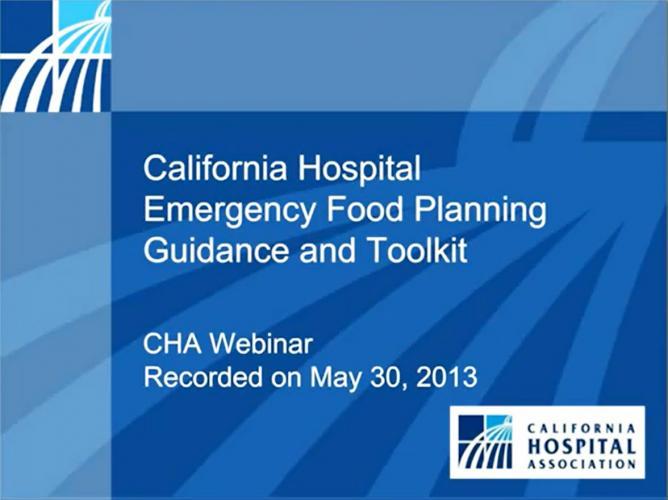 California Hospital Emergency Food Planning Web Seminar